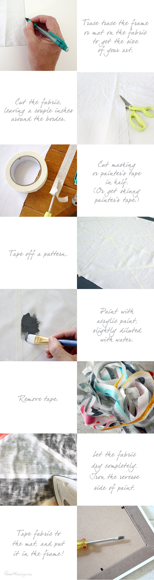Step by step instructions for DIY art with tape