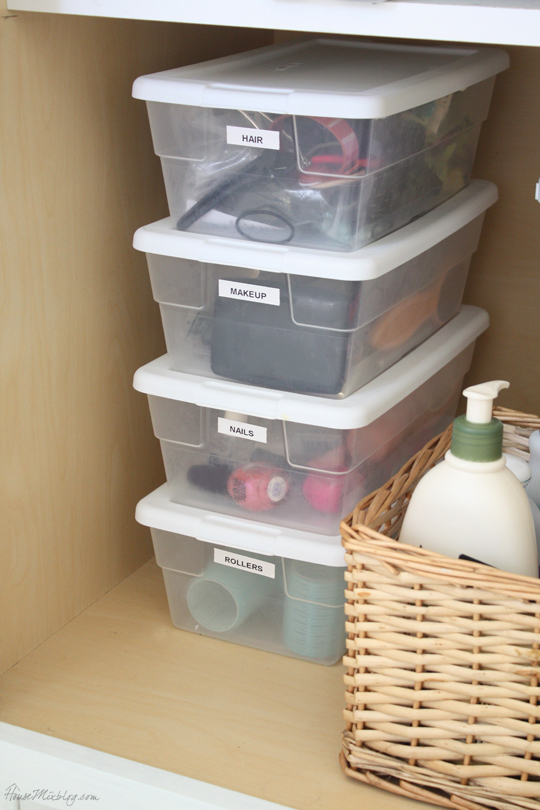 Bathroom organization with small clear storage boxes