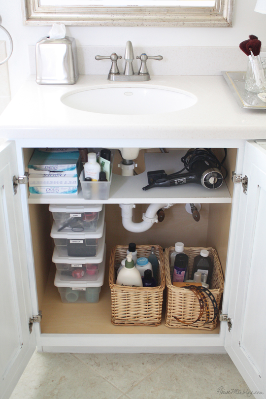 Bathroom under sink organization