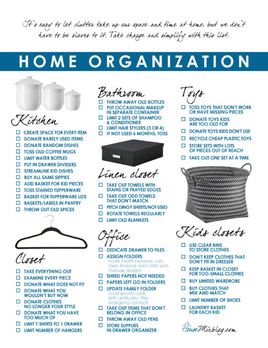 Home organization and simplify printable checklist, room by room