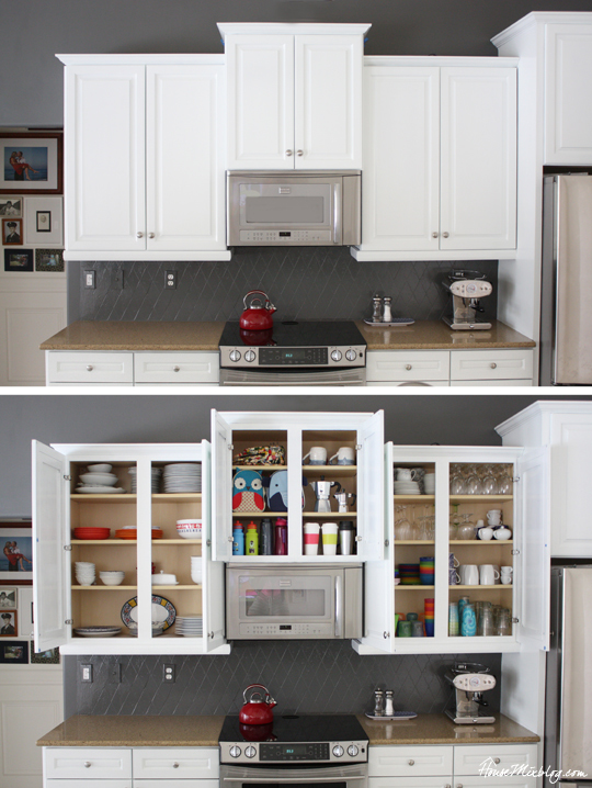 Organized kitchen with cabinets open