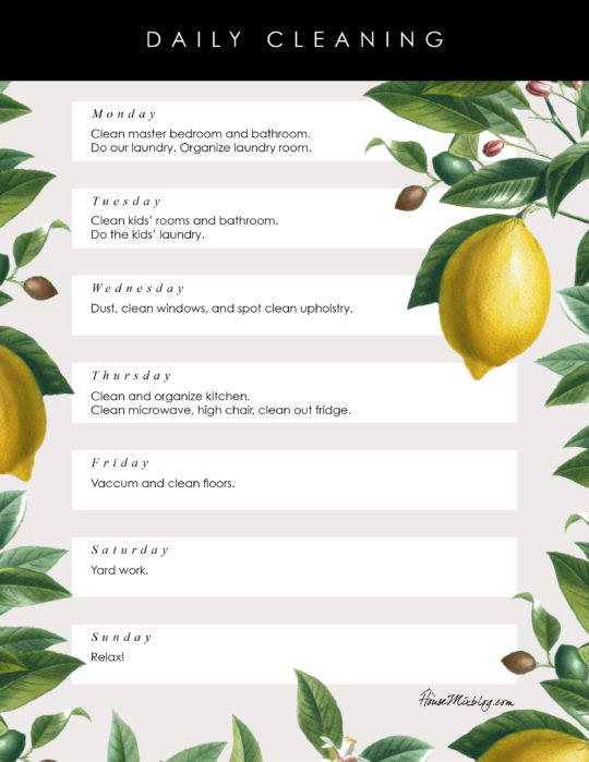 Pretty floral printable daily cleaning schedule