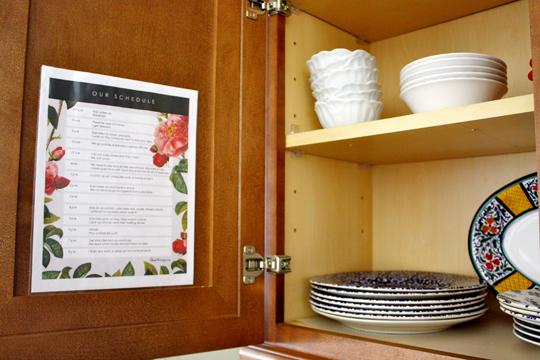 Printable kids schedule inside kitchen cabinet