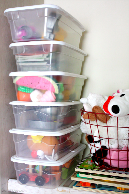 Use clear dollar store containers to separate toys with lots of pieces