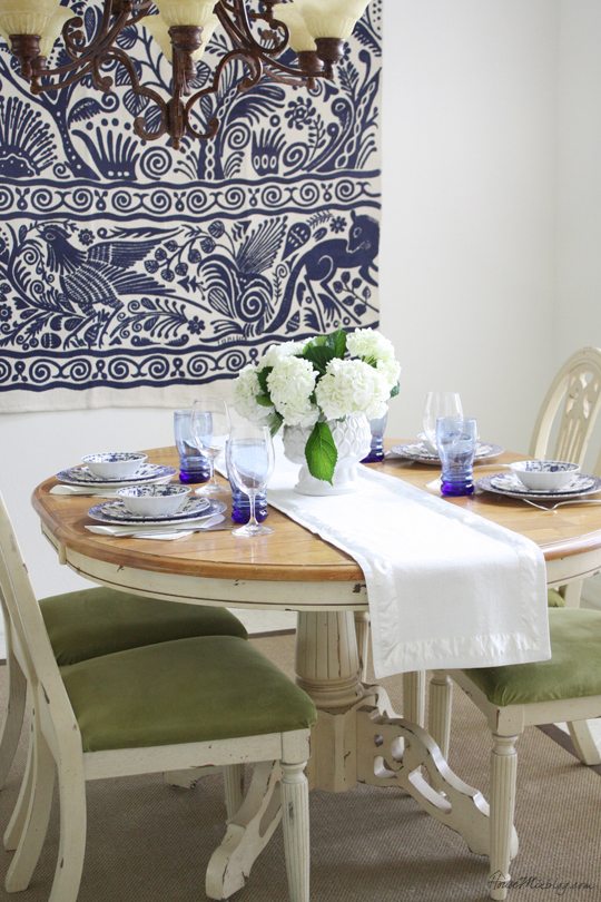 Blue and white table setting for dinner party