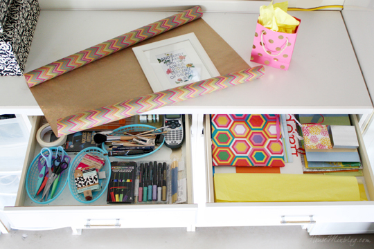 Gift wrap and art station organization