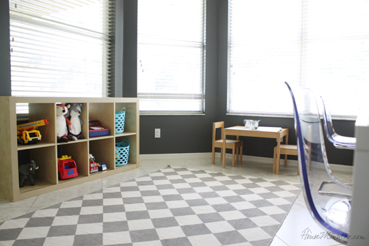 Home office and playroom together with Ikea furniture