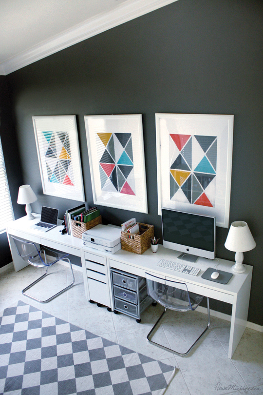 Ikea Micke desks in home office. Gray walls Benjamin Moore Kendall Charcoal