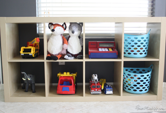 Ikea kallax shelf can go horizontal or vertical for toys and books
