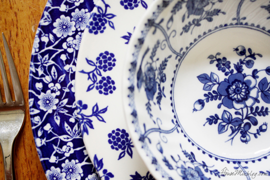 Mismatched blue and white dishes