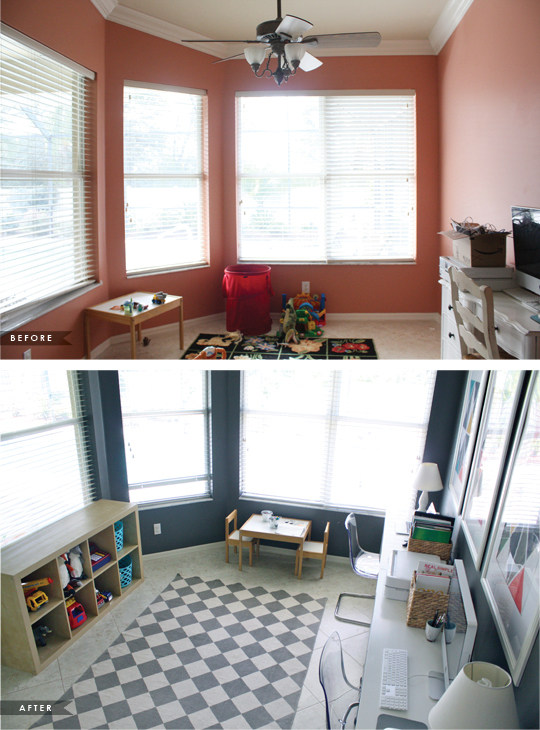 home office play room before and after