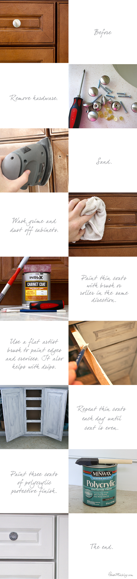 DIY instructions to paint dark kitchen cabinets white