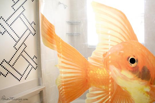 Goldzilla Goldfish Shower Curtain