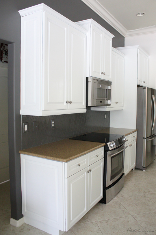 How I transformed my kitchen with paint  Benjamin Moore Kendall Charcoal House Mix