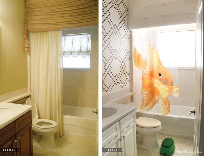 Kids bathroom before and after with stenciling, cabinet painting and valance
