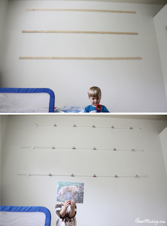 Kids wall art display with clips