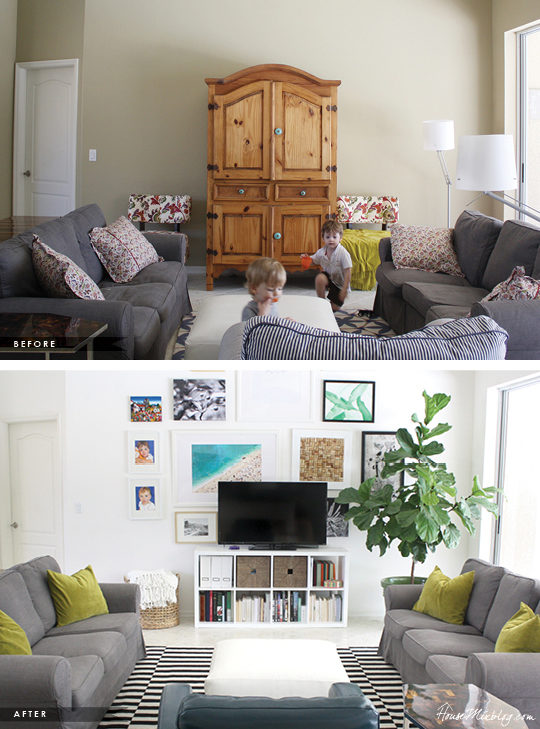 Living room with gallery wall before and after