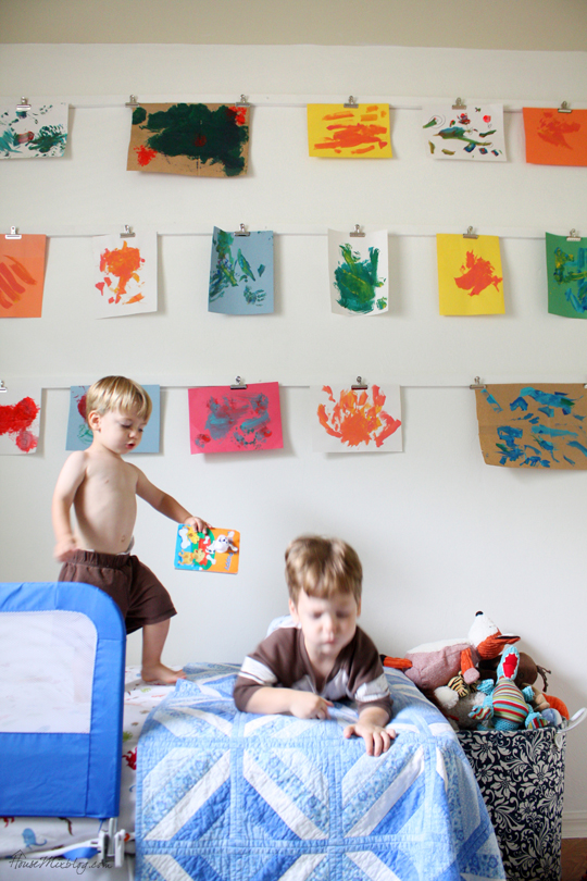 Make a wall with clips for your child's art