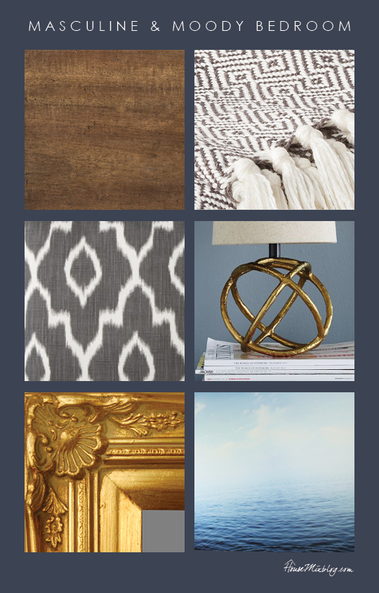 Masculine and moody inspiration board - navy blue, gold, wood, gray patterns