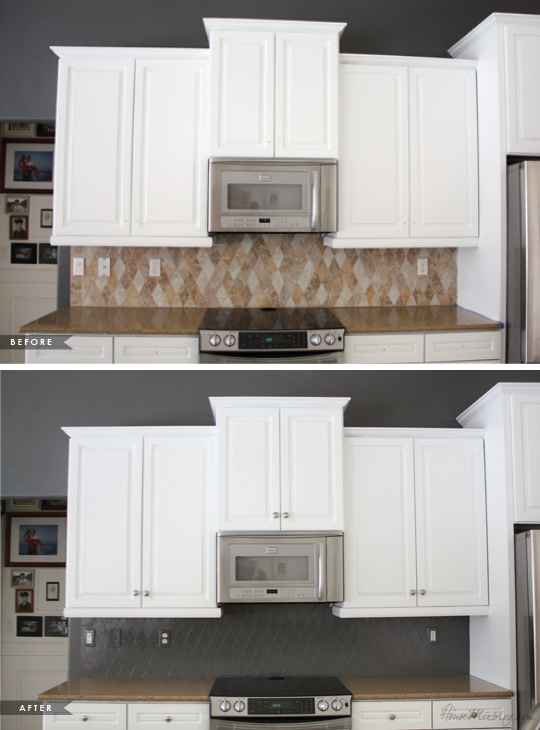 How i transformed my kitchen with paint house mix for Painting bathroom tile before and after