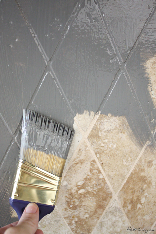 Paint tile backsplash with oil based paint for an easy update for Can you paint over linoleum floors