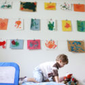 Use bulldog clips to display kids' art