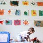 Kid's art wall with clips