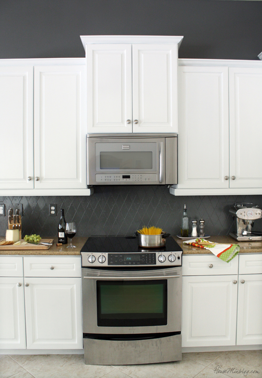White and gray kitchen  kendall charcoal How I transformed my with paint House Mix