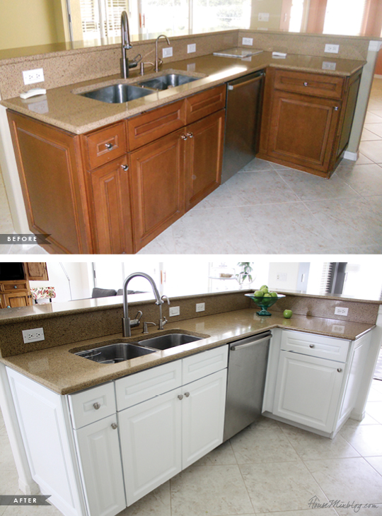 exceptional How To Paint Stained Kitchen Cabinets White #1: painting dark kitchen cabinets white - before and after