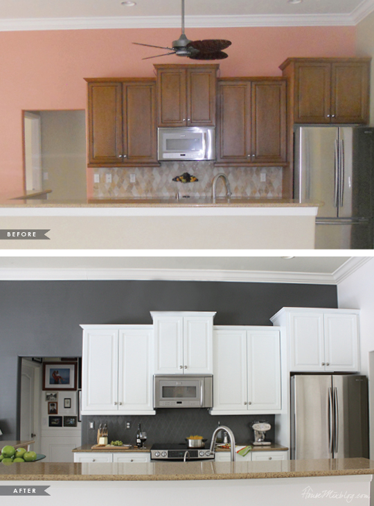 How i transformed my kitchen with paint house mix for Before and after painting kitchen cabinets white