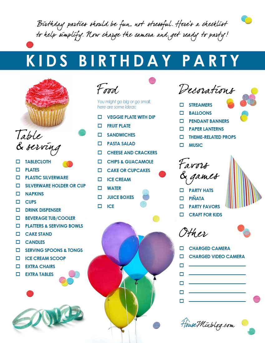 Kids Birthday Party Checklist House Mix