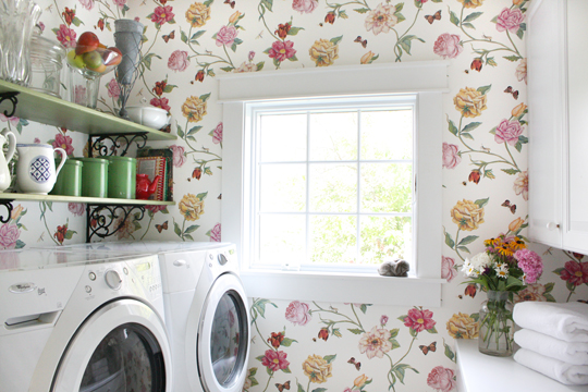 White pink and green laundry room