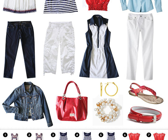 Preppy red white and blue mix and match travel clothes