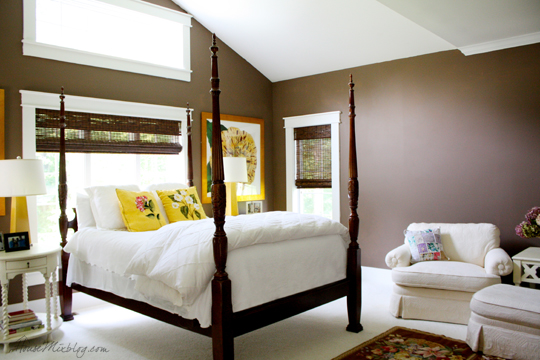 Chocolate brown, yellow and white master bedroom