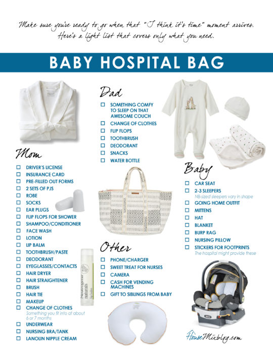 Printable baby hospital bag checklist