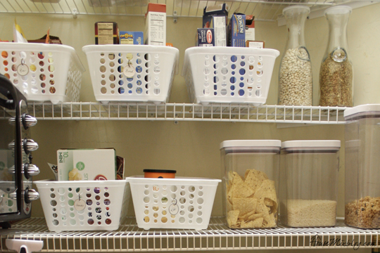 Favorite dollar store buys - white baskets for pantry