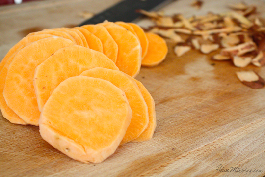 Healthy homemade sweet potato chips in coconut oil
