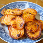Homemade sweet potato chips in coconut oil