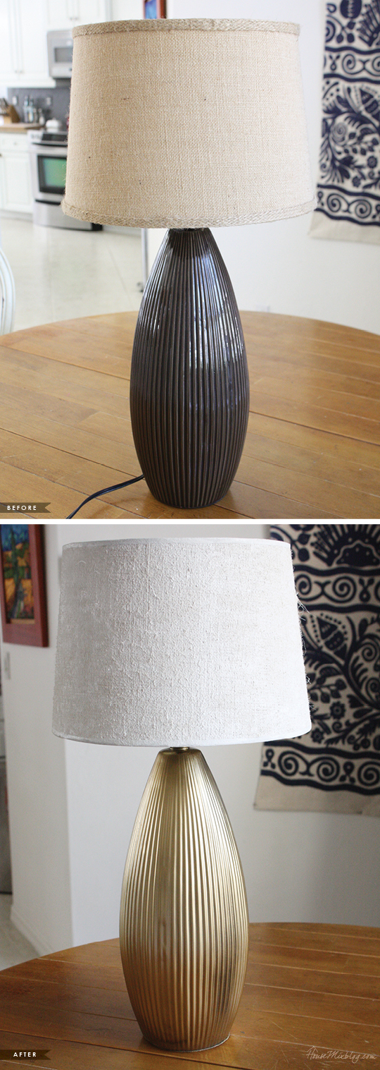 Update a lamp with gold spay paint