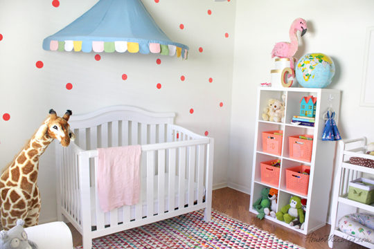 Blue and coral girls nursery