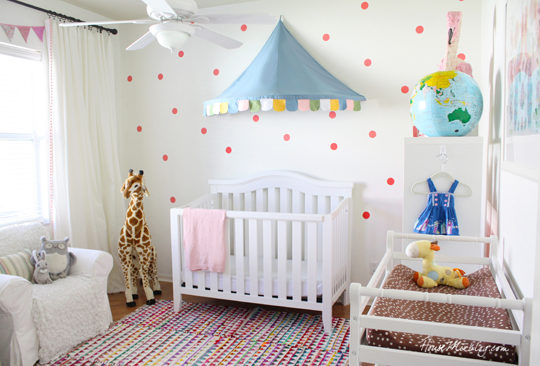Colorful coral girls nursery