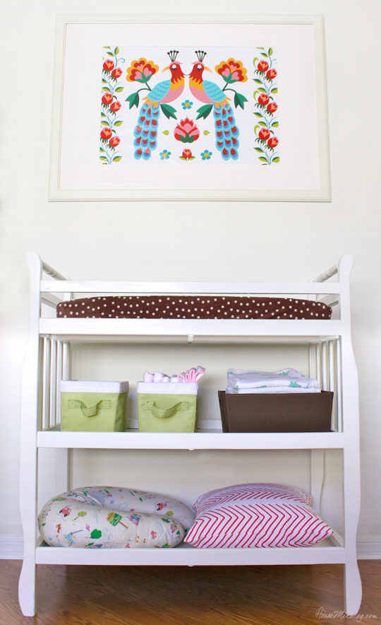 Colorful nursery with white walls