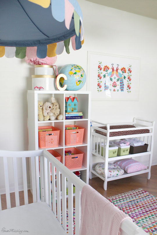 Coral and blue girls nursery