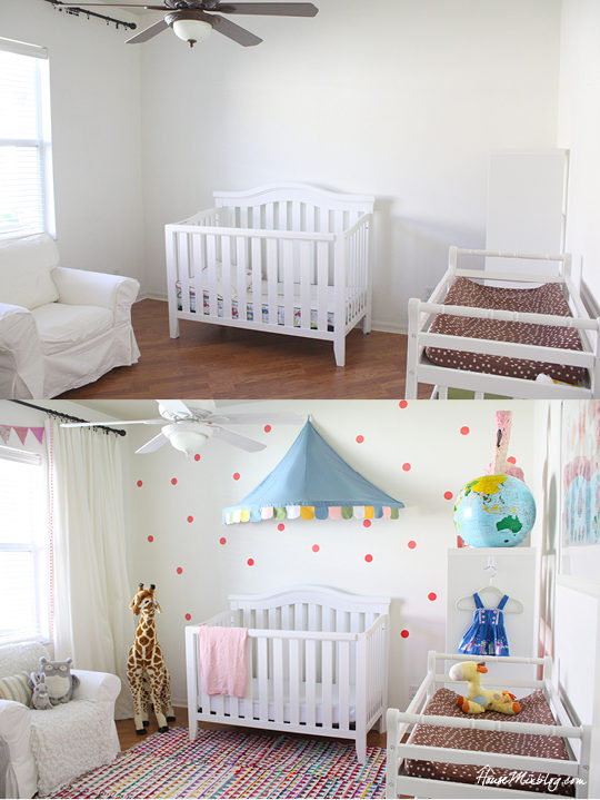 Eclectic girl nursery projects on the cheap