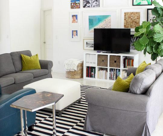 Gallery Wall Behind TV In Living Room