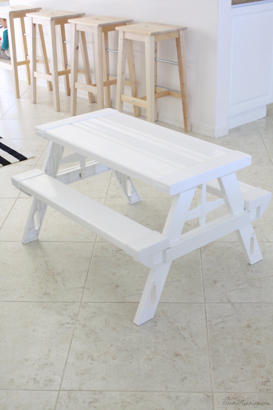 KidNic kids picnic table is simple looking and works great inside too