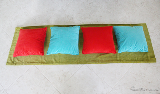 Making envelope pillows out of a curtain panel
