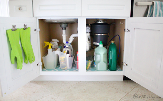 Organize under kitchen sink with clipps for rubber gloves on the door