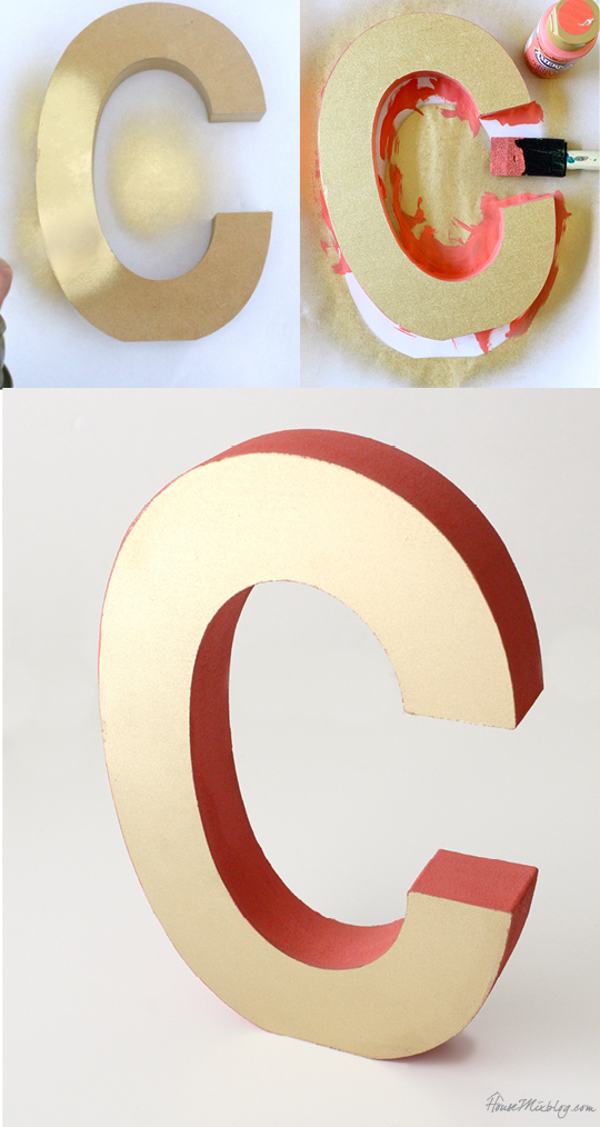 Painted wooden initial - gold and coral