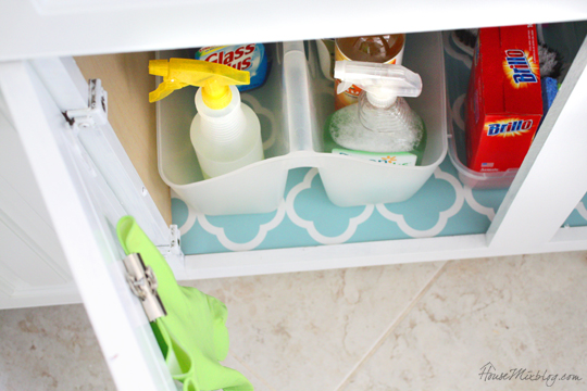 Pretty shelf liner under the sink